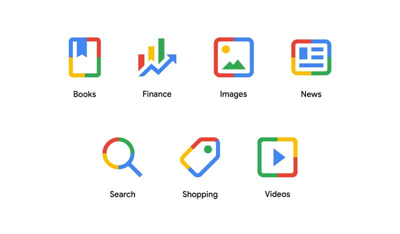 Google new search menu icons